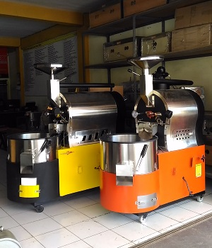 mesin roaster 10kg 5 kg roasting kopi modern di malang robhan roster